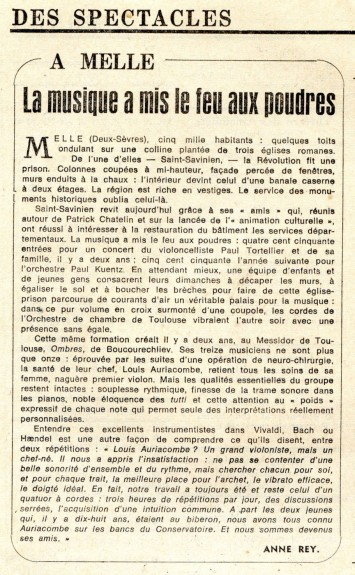 Article du journal Le Monde en 1972