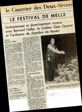 1974 premier festival de Melle (article du Courrier de l'Ouest)