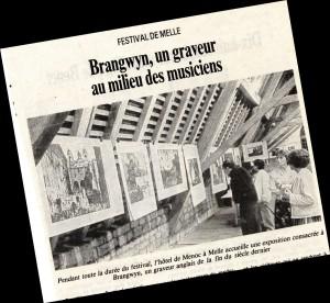 1988 : exposition de gravures de Frank BRANGWYN dans le grenier de l'Hôtel de Menoc
