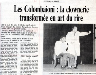 1988: I COLOMBAIONI à la salle Jacques Prévert ( déjà venus en 1976 à Saint Savinien)