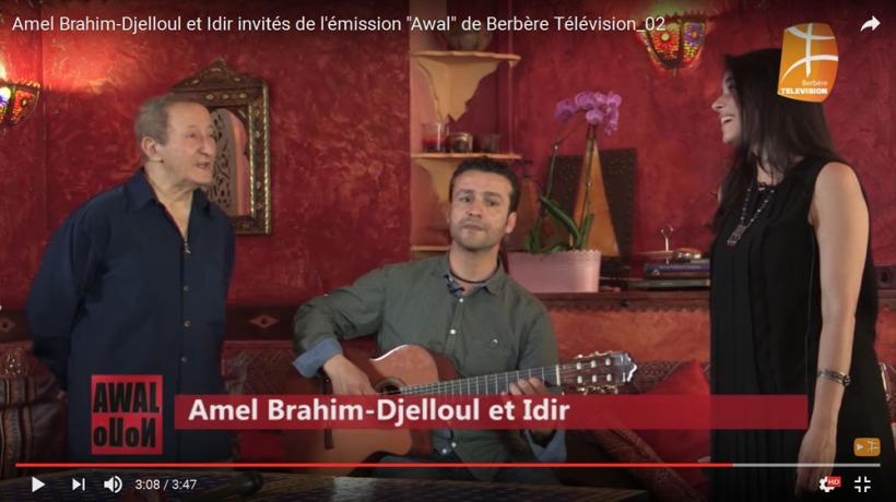"""Amel Brahim-Djelloul et Idir invités de l'émission """"Awal"""" de Berbère Télévision"""