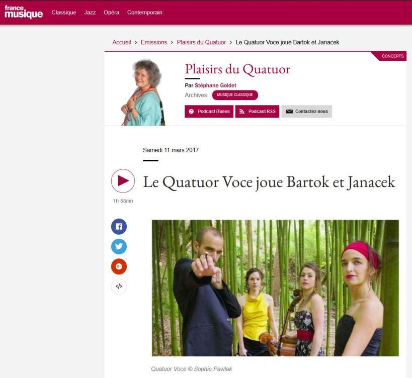 France Musique - Le Quatuor Voce joue Bartok