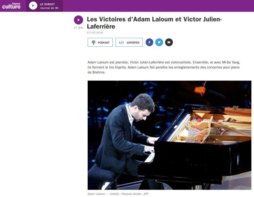 Victor Julien-Laferriere et Adam Laloum sur France Culture