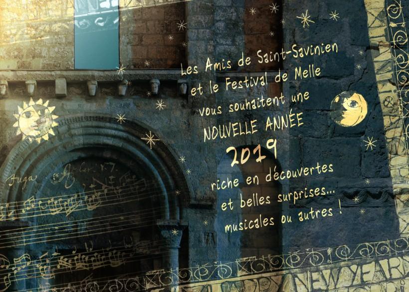 carte voeux 2019 © Les Amis de Saint-Savinien / Festival de Melle