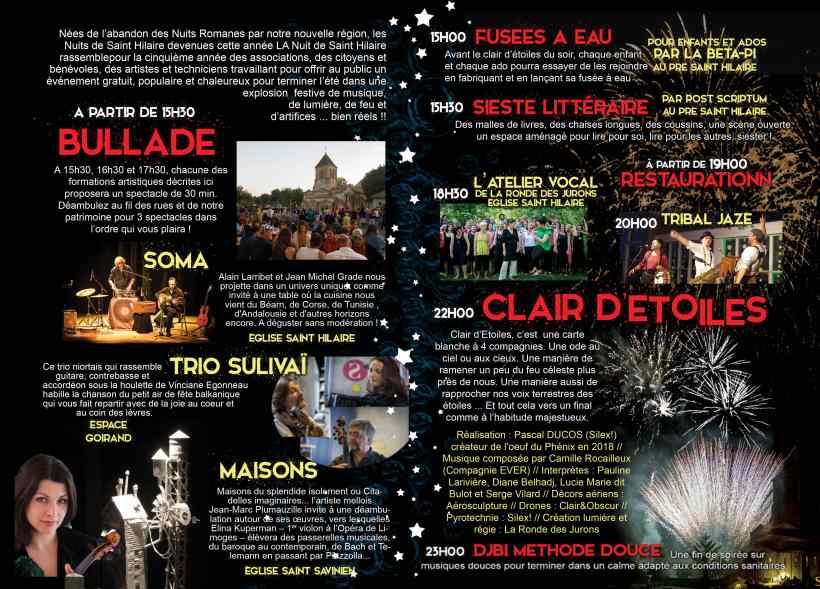 Nuits de Saint-Hilaire 2020 programme verso © Ville de Melle
